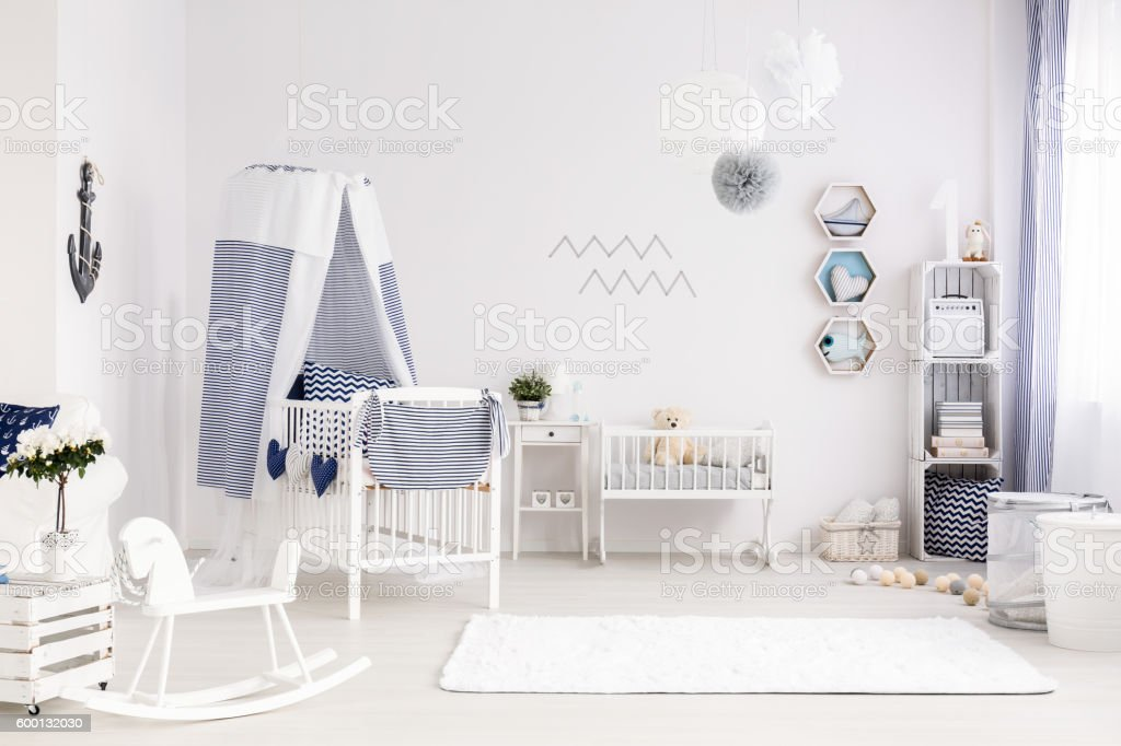 Baby room in marine style stock photo