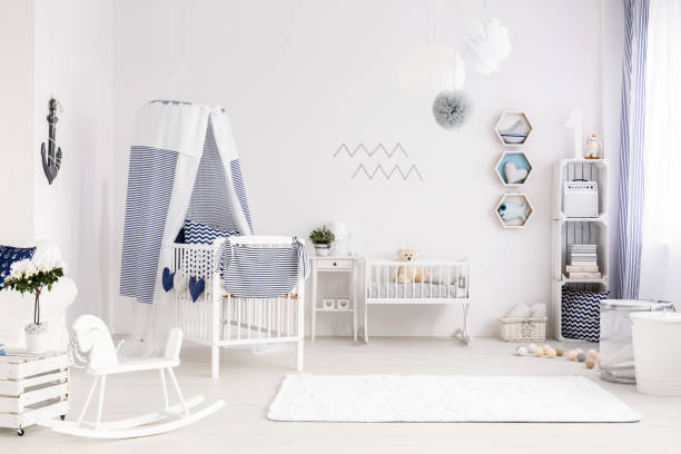Baby room in marine style stock photo