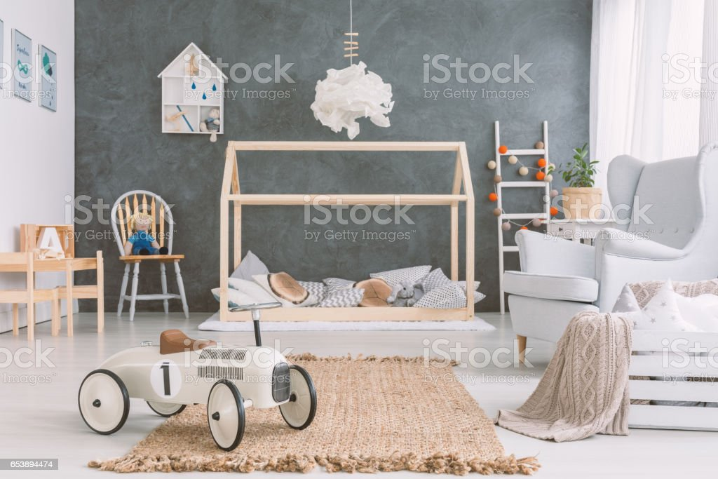 Baby room in scandinavian style stock photo