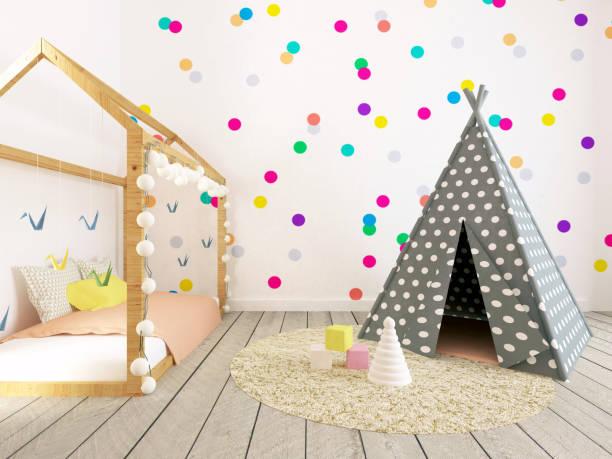 baby-innenraum, kindergarten mit punkten - tipi zelt stock-fotos und bilder