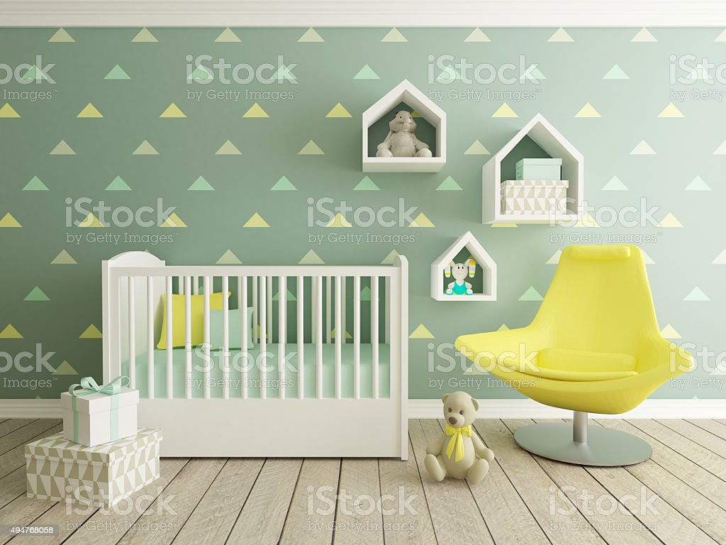 baby room interior stock photo