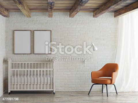 istock Baby room, mock up poster on brick wall, 3d illustration 472091736