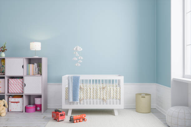Baby Room Modern baby room interior. crib stock pictures, royalty-free photos & images
