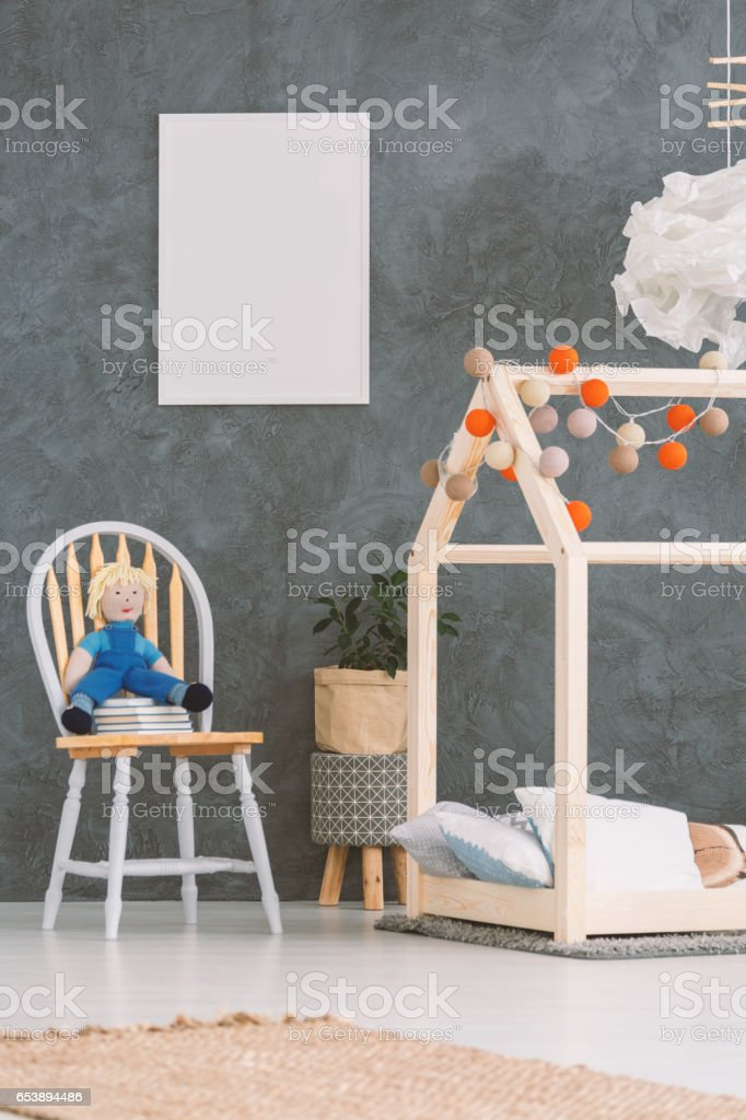Baby room with house bed stock photo