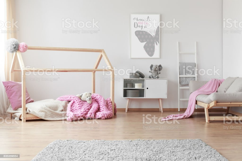 Baby room with poster stock photo