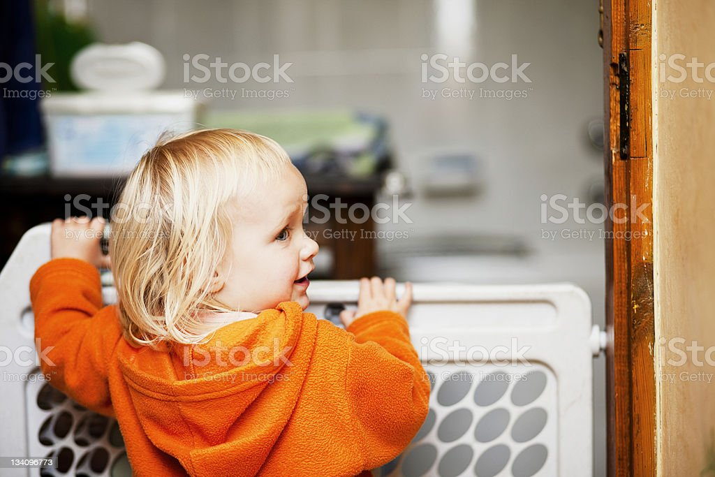 Baby safety gate stock photo