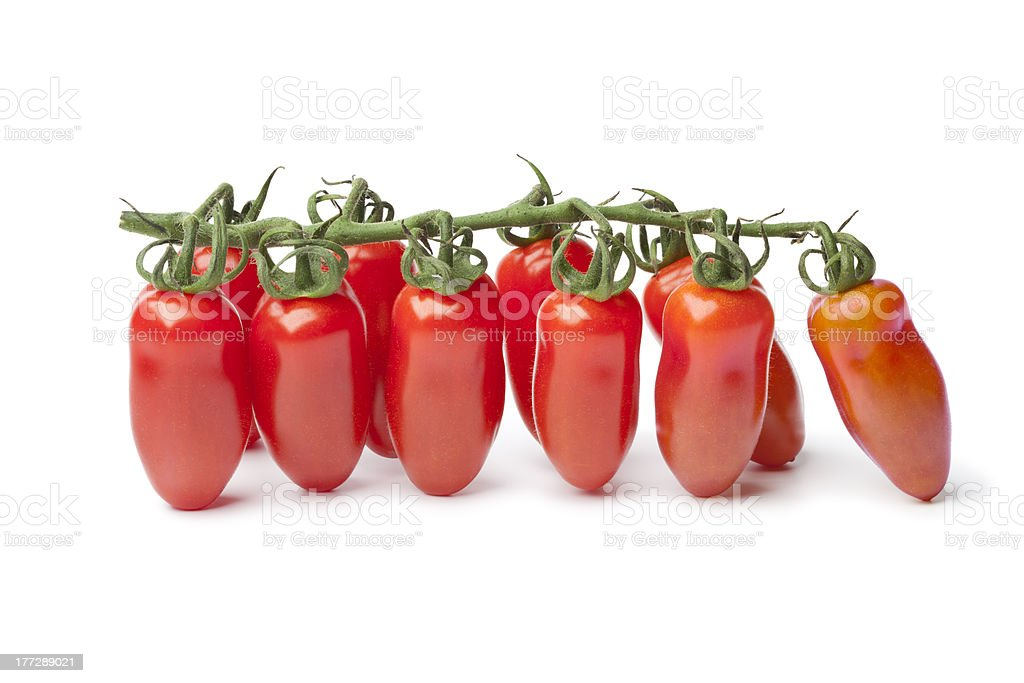 Baby San Marzano's tomatoes on a vine stock photo