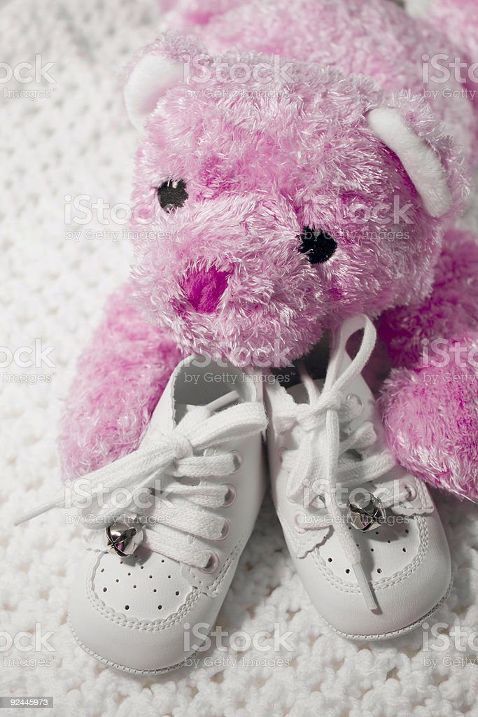 Baby Shoes and Teddy royalty-free stock photo