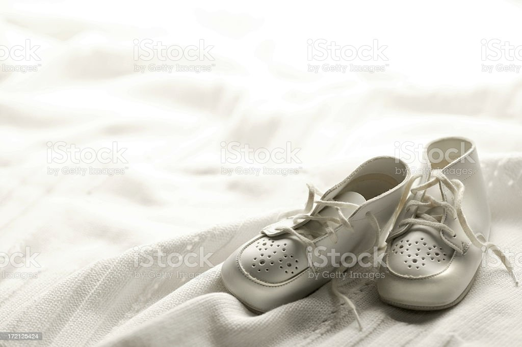 Baby Shoes on Blanket stock photo