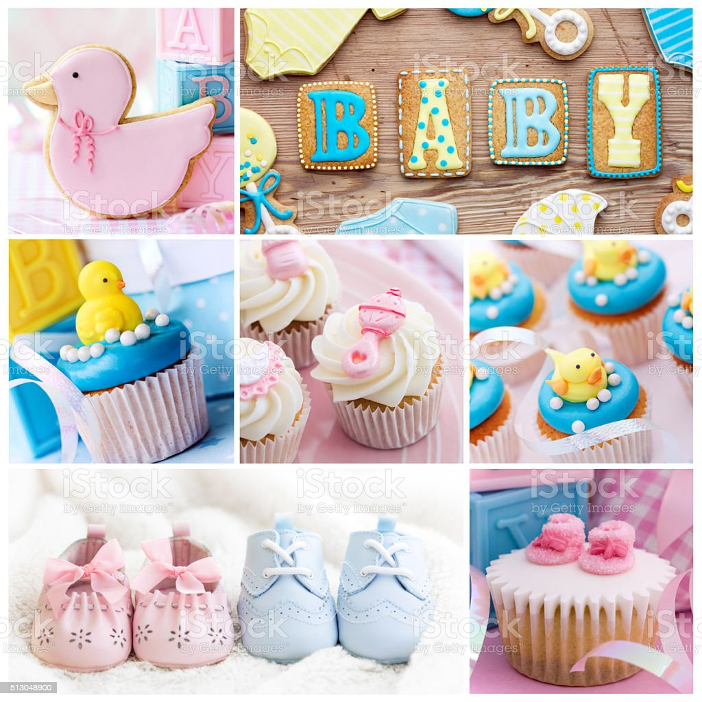 Baby shower collage stock photo
