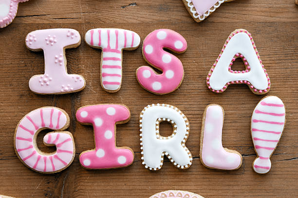baby shower cookies - its a girl stock photos and pictures