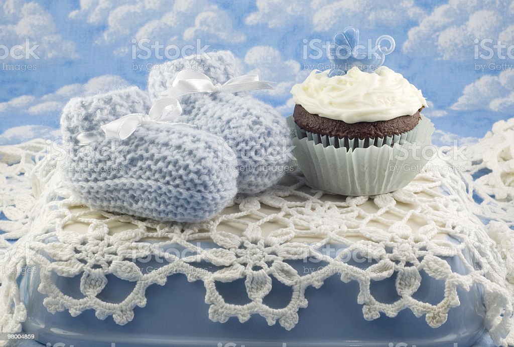 Baby Shower Cupcake and Booties for Boy royalty-free stock photo
