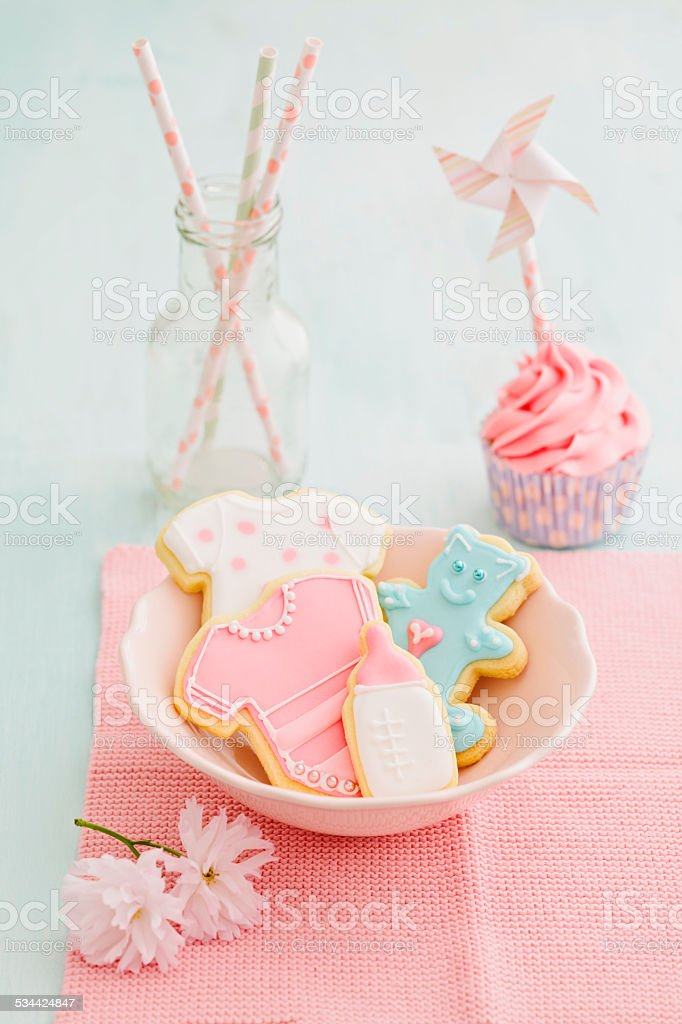 Baby shower cupcake and cookies stock photo