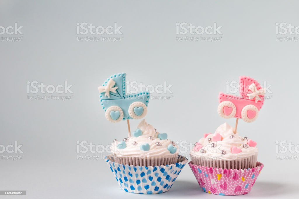 Baby Shower Cupcake For A Girl And A Boy Twins Newborn Announcement Text Space Stock Photo Download Image Now Istock