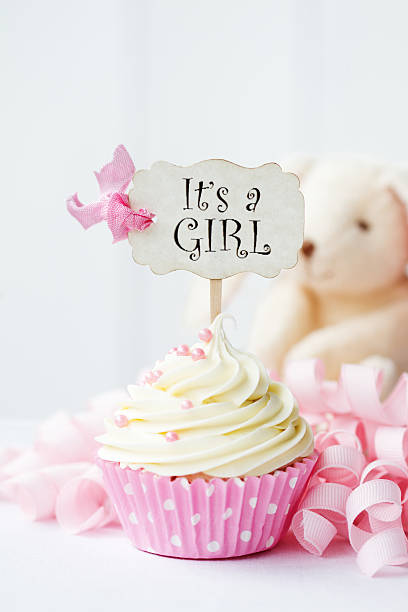 baby shower cupcake - its a girl stock photos and pictures