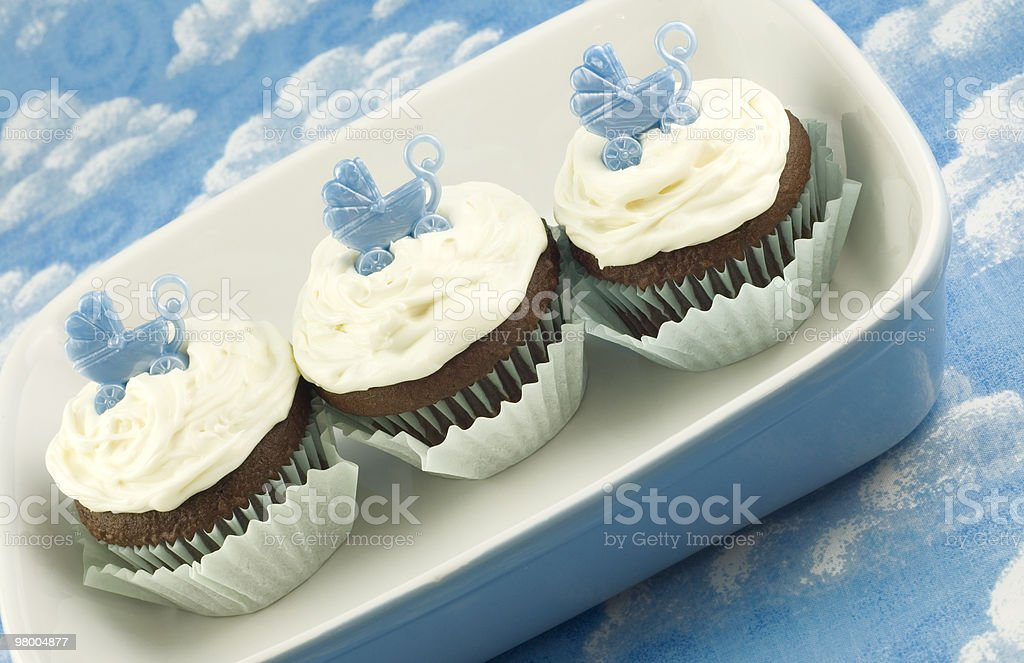 Baby Shower Cupcakes for Boy royalty free stockfoto