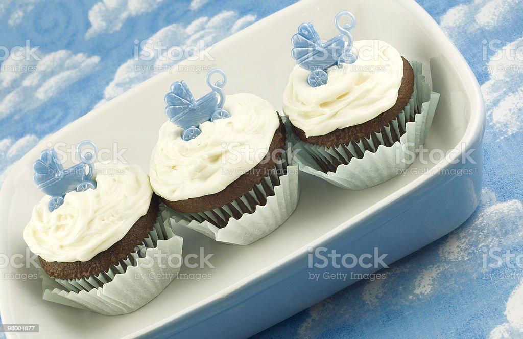 Chuveiro de bebê para menino Cupcakes foto royalty-free
