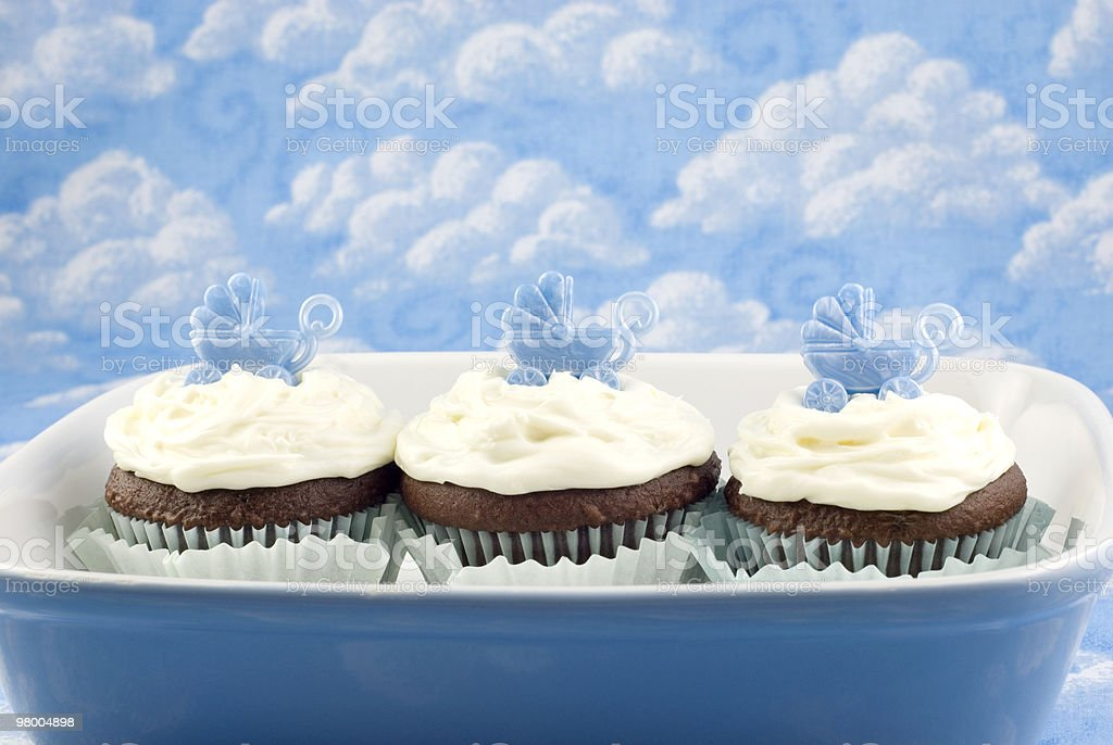 Baby Shower Cupcakes for Boy royalty-free stock photo