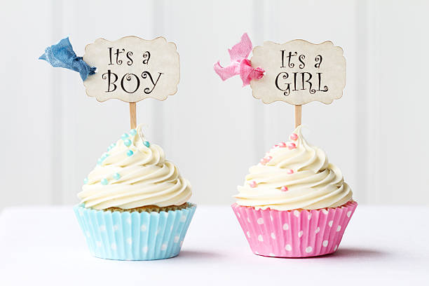 baby shower cupcakes - its a girl stock photos and pictures