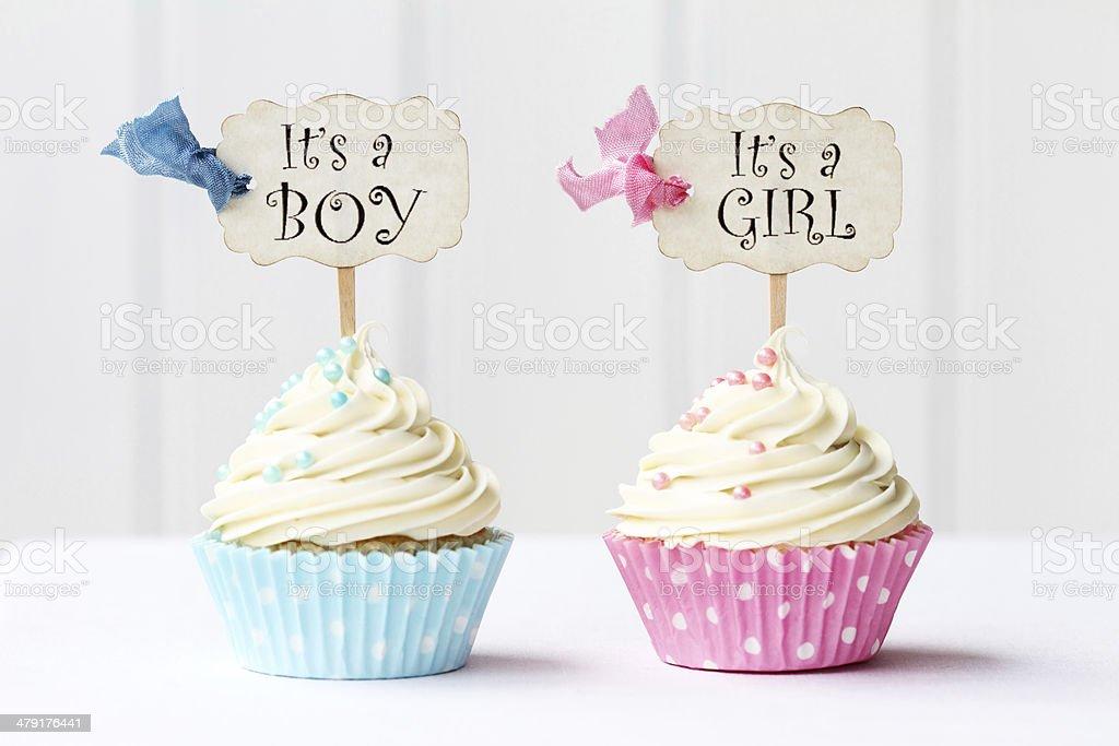 Baby Shower Cupcakes Stock Photo