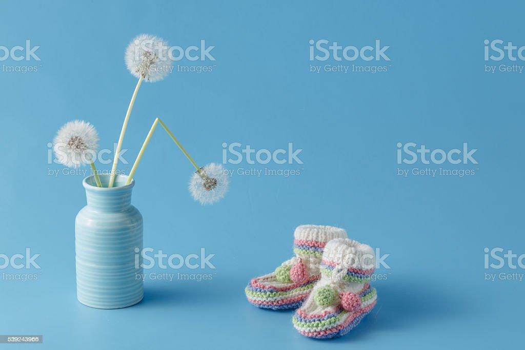 baby shower decoration on plain aquamarine background royalty-free stock photo
