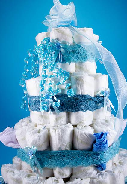 baby dusche windel kuchen - windel partys stock-fotos und bilder