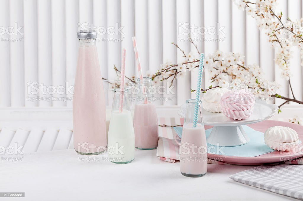 Baby shower in pink and blue with milkshakes stock photo