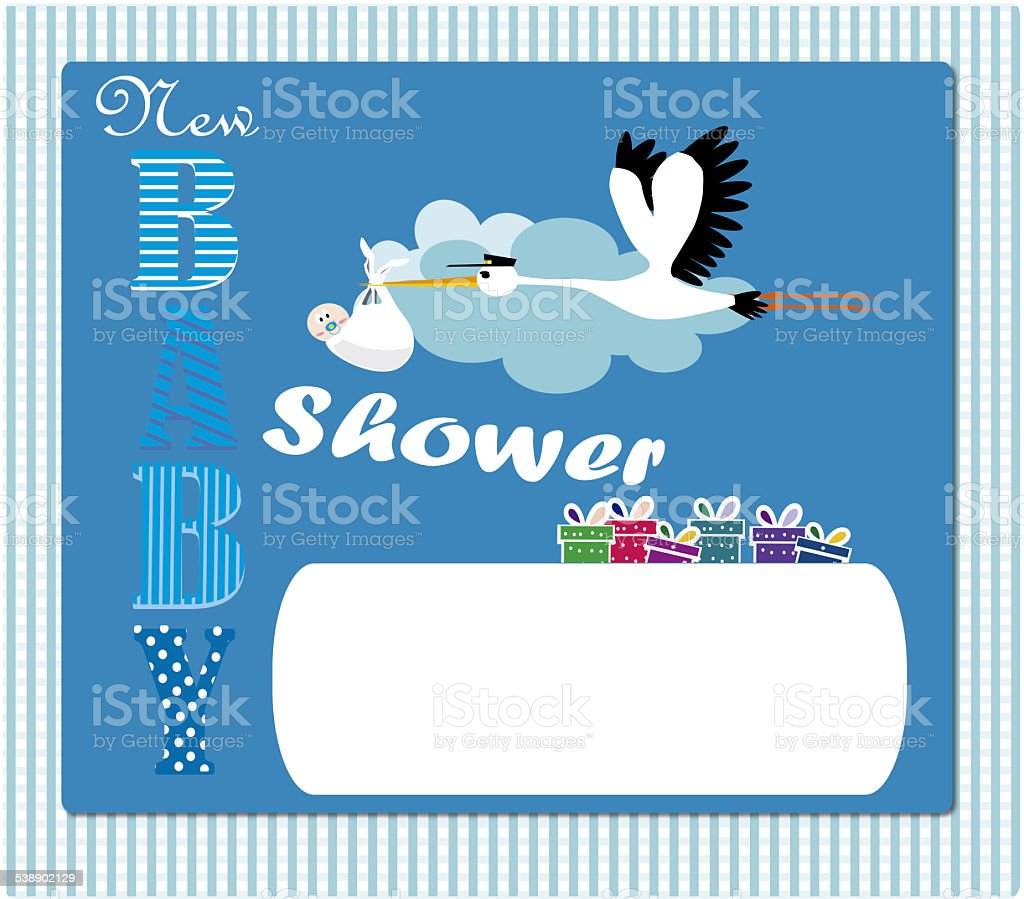 Baby Shower Invitation blue stock photo