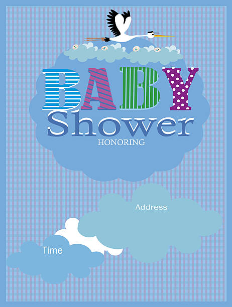 Baby Shower Invitation Stork and baby stock photo