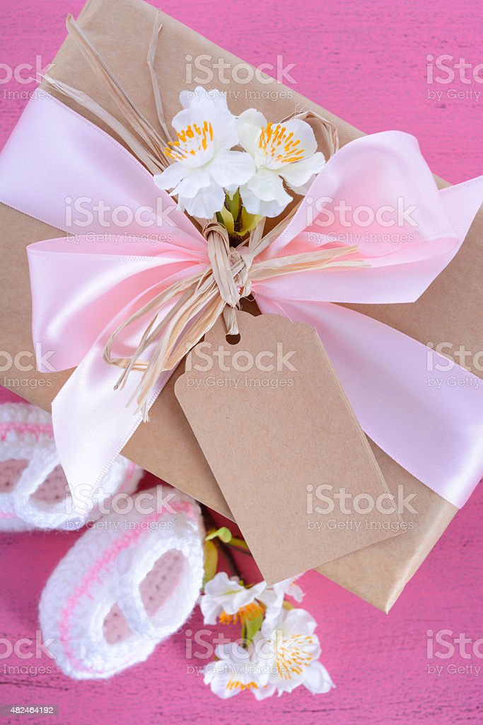 Baby Shower Its A Girl Natural Wrap Gift Stock Photo Istock