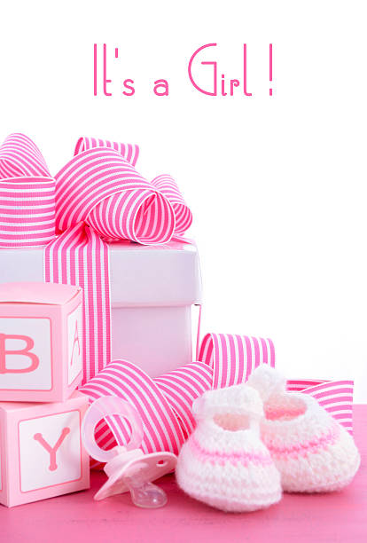 baby shower its a girl pink gift - its a girl stock photos and pictures