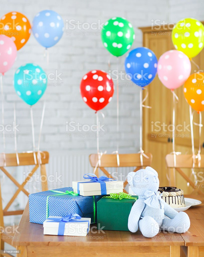 Baby shower. Sweets and presents on the table. stock photo