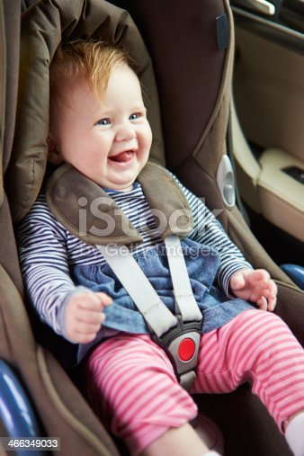 Happy Smiling Baby Sitting Happily In Car Seat