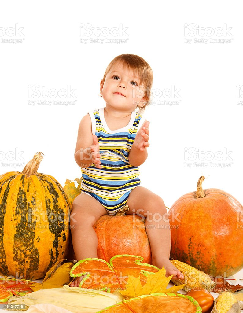 Baby sitting on the pumpkin royalty-free stock photo