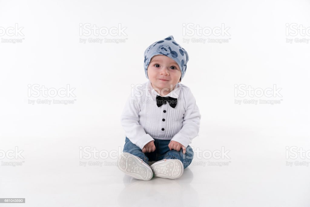 Baby Sitting on White Background royalty-free stock photo