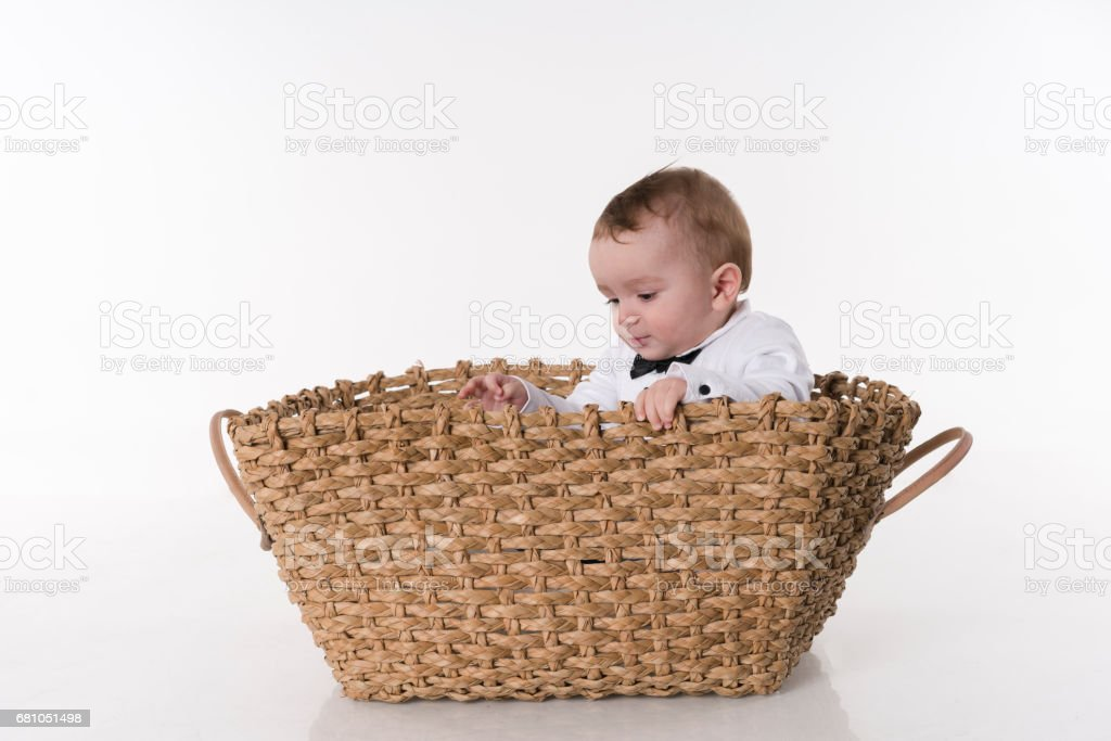 Baby Sitting on White Background royalty-free stock photo