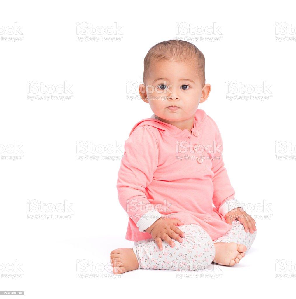baby sitting on white royalty free stock photo