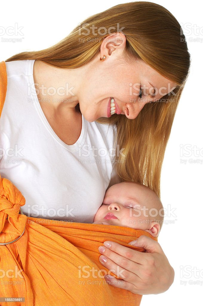 baby sleep in mother arms royalty-free stock photo
