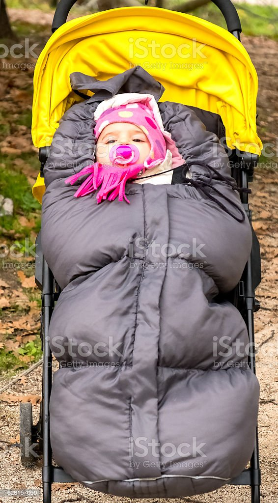 baby sleeping bag stock photo