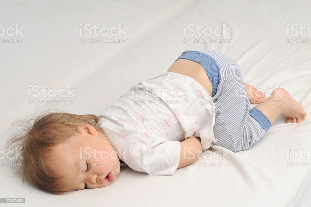 Baby sleeping bottom up stok fotoğrafı