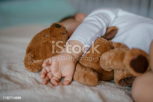Baby sleeping with teddy bear. Shadow DOF. Developed from RAW; retouched with special care and attention; Small amount of grain added for best final impression. 16 bit Adobe RGB color profile.