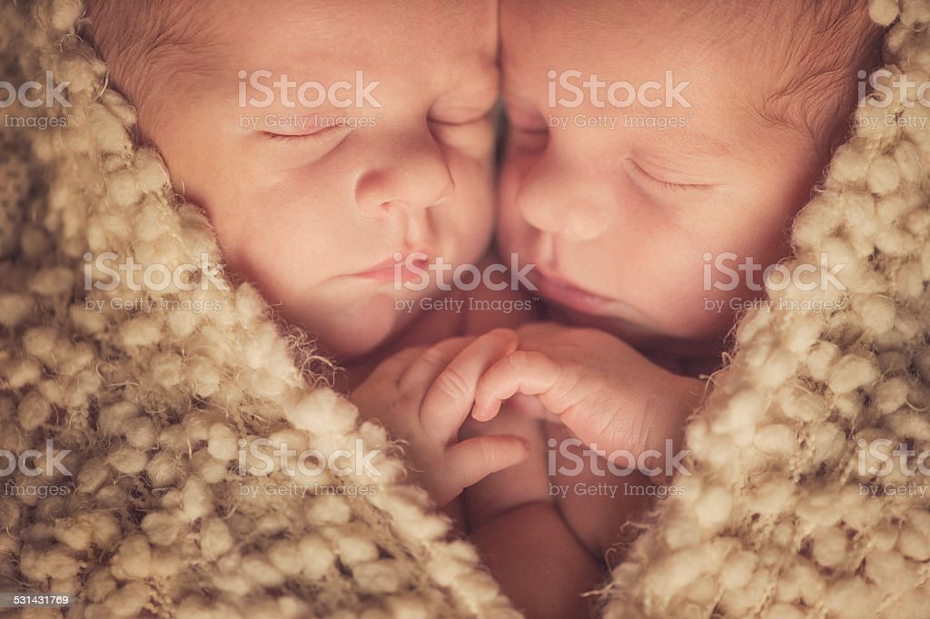 Baby small twins and newborn and heart stock photo