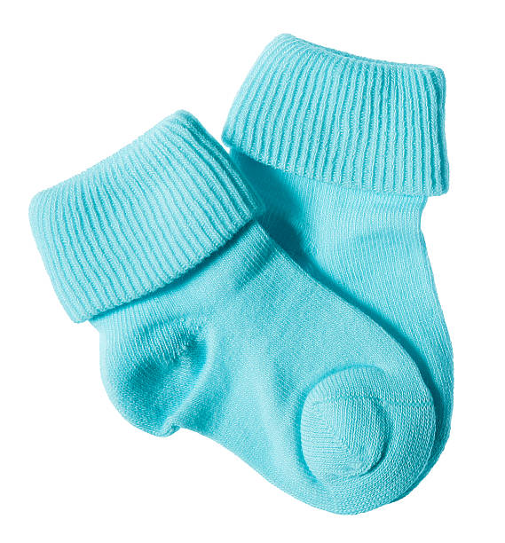 Baby socks on white stock photo