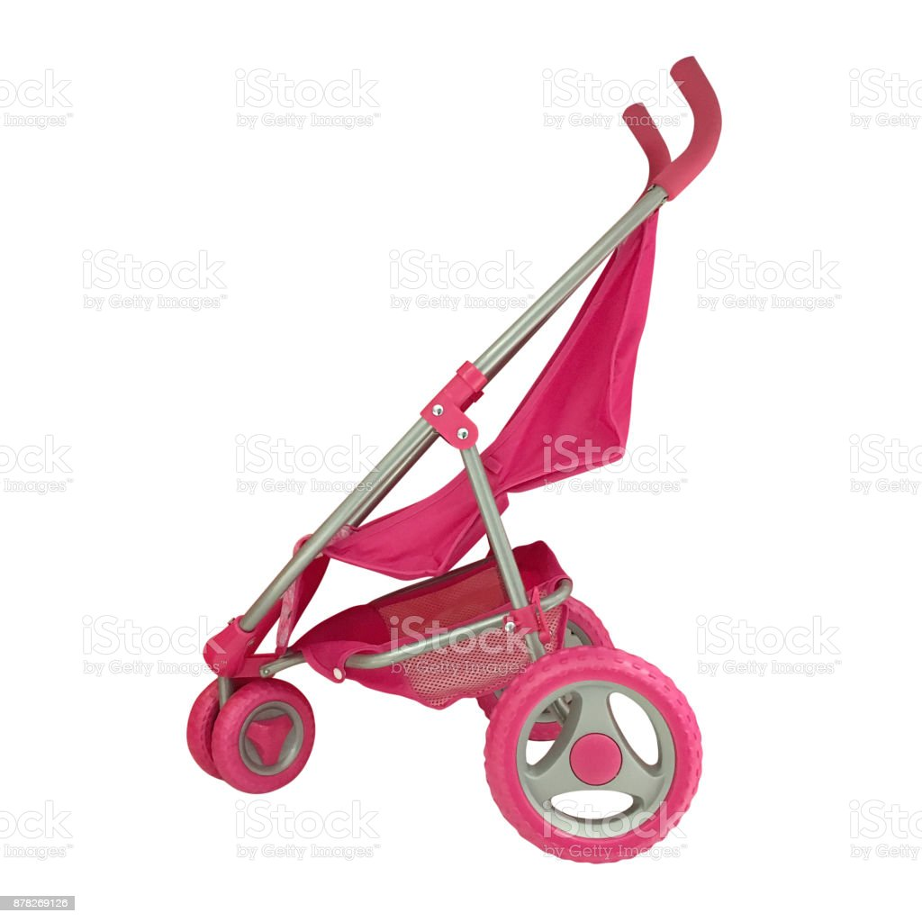baby stroller isolated on white background stock photo
