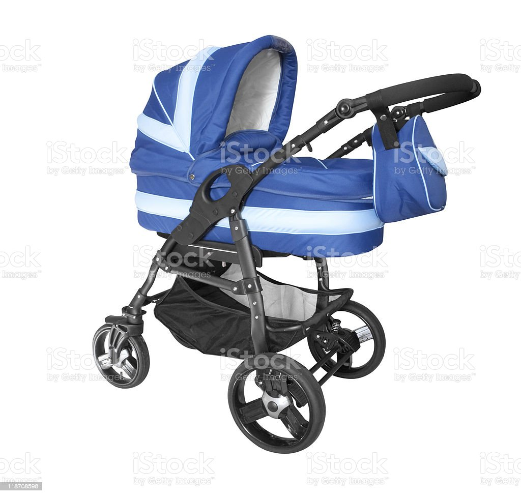 baby stroller isolated on white stock photo