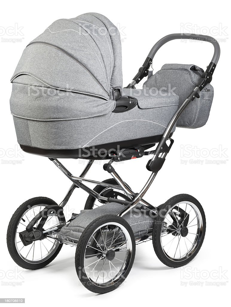 """Baby Stroller """"Grey Baby Stroller on white. This file is cleaned, retouched and contains"""" Baby Carriage Stock Photo"""