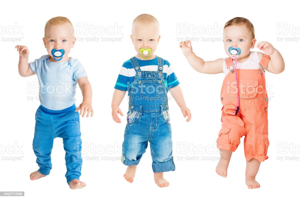 Baby Sucking Pacifier, Infant Kids Group Suck Soother Dummy and Dancing,  Children White Isolated - Stock image .