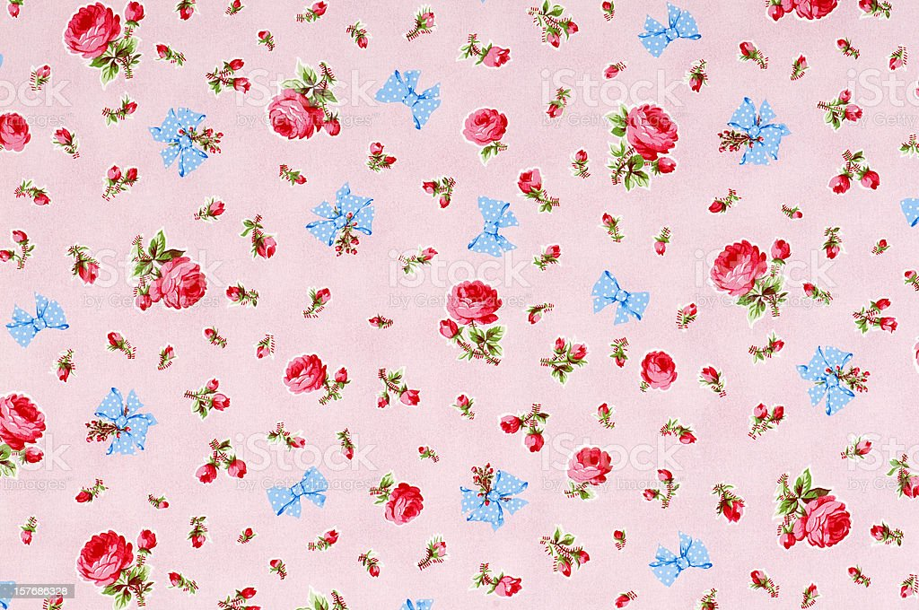 Baby Take a Bow Medium Vintage Floral Fabric royalty-free stock photo