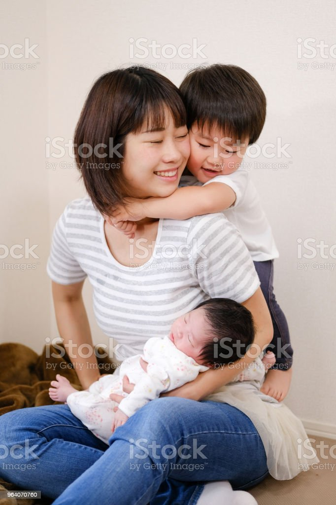 baby, toddler, and mother - Royalty-free 0-1 Months Stock Photo