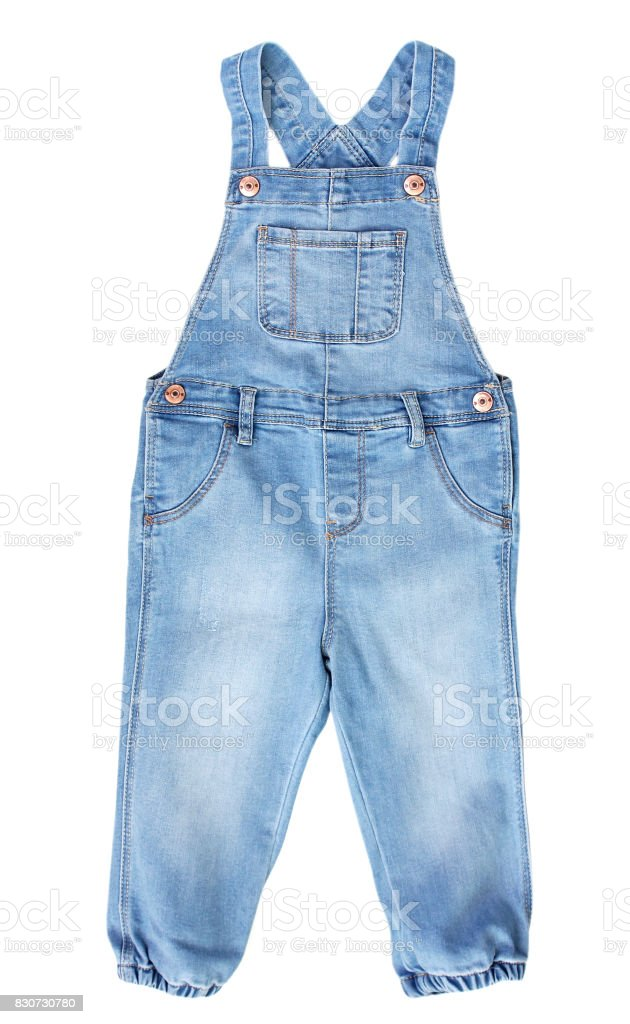 Baby toddler blue jean overall isolated on white. stock photo